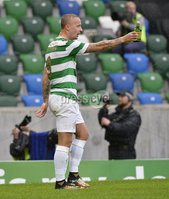 Press Eye - Belfast - Northern Ireland -14th July. Photo by Stephen Hamilton  / Press Eye.. Champions league qualifying match first leg between Linfield and Celtic at Windsor park in Belfast..  Celtics Leigh Griffiths gets booked after timewasting during bottles were being thrown at him.