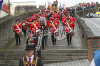 Press Eye - Apprentice Boys March - Londonderry - 12th August 2017. Photograph by Declan Roughan. ABOD Saturday morning march around the walls of Derry culminating in the laying of a wreath at the Cenotaph in the Diamond and then a service at St Columbs Cathedral.