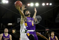 Press Eye - Belfast -  Northern Ireland - 30th November 2018 - Photo by William Cherry/Presseye. Albany\'s Ahmad Clark with Dartmouth\'s Adrease Jackson during Friday afternoons Samson Bracket Consolation game in the Basketball Hall of Fame Belfast Classic at the SSE Arena, Belfast.