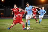 Tennent\'s Irish Cup Round 6, Windsor Park, Belfast 11/2/2019. Ballymena v Portadown. Ballymena\'s Leroy Millar  with Portadown\'s   Kevin Braniff. Mandatory Credit INPHO/Stephen Hamilton.