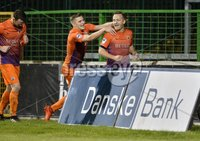 . Danske Bank Premiership,The Oval Belfast 14/11/2017. Glentoran v Glenavon. Mandatory Credit ©INPHO/Stephen Hamilton.  Glenavons Sammy Clinghan celebares after his second penalty put his side into a 3-1 lead