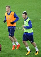 Press Eye - Belfast -  Northern Ireland - 11th November 2017 - Photo by William Cherry/Presseye. Northern Ireland\'s George Saville and Lee Hodson during Saturday nights training session at St. Jakob-Park ahead of Sunday nights World Cup Play Off against Switzerland in Basel.