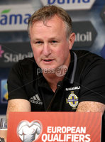 Press Eye - Belfast -  Northern Ireland - 07th October 2017 - Photo by William Cherry/Presseye. Northern Ireland manager Michael O\'Neill during Saturdays Press Conference at the Ullevaal Stadion, Oslo ahead of Sundays World Cup Qualifier against Norway.   Photo by William Cherry/Presseye