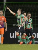 . Danske Bank Premiership,The Oval Belfast 14/11/2017. Glentoran v Glenavon. Mandatory Credit ©INPHO/Stephen Hamilton. Glentorans Robbie McDaid vcelebrates after he  flicks his shot past Johnny Tuffey to put the Glens into a 1-0 lead.