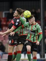 Danske Bank Premiership, Seaview Belfast.. Co Antrim 02/12/17. Crusaders v Glentoran. Mandatory Credit ©INPHO/Stephen Hamilton. Crusaders Jordan Forsythe  in action with Glentorans Eoghan McCawl.
