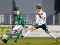 Press Eye - Belfast - Northern Ireland - 18th November 2019. Preparatory Friendly Tournament U19 2019 - Northern Ireland Vs Germany at Mourneview Park in Lurgan.. Northern Irelands Daniel Finlayson with Germanys Sebastian Muller. Picture by Jonathan Porter/PressEye