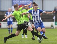 Danske Bank Premiership, Showgrounds, Coleraine 4/8/2018. Coleraine vs Warrenpoint. Warrenpoint\'s Anto Reilly and Coleraine\'s Darren McCauley. Mandatory Credit ©INPHO/Lorcan Doherty