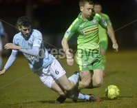 Danske Bank Premiership, Milltown Playing Fields, Newry 13/2/2018. Warrenpoint Town vs Cliftonville. Mandatory Credit ©INPHO/Stephen Hamilton. Warrenpoints Jordan Dane  in action with Cliftonvilles  Liam Bagnall
