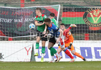 Danske Bank Premiership, The Oval, Belfast, Northern Ireland. 1/5/2021. Glentoran vs Linfield FC . Linfield  Mark Stafford  header on goal. Mandatory Credit INPHO/Presseye/Brian Little