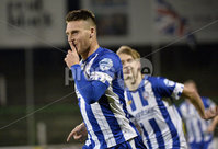 . Bet McLean League Cup Round 3, The Oval, Belfast 30/10/2018. Glentoran vs Coleraine. Coleraines Josh Carson celebrates after he fires his side into a 1-0 lead. Mandatory Credit INPHO/Stephen Hamilton.
