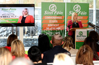 Press Eye - Sinn Feinn Manifesto launch - Galgorm Hotel - Ballymena -  5th April 2019. Photograph by Declan Roughan. Sinn Fin launches party Manifesto for Local Government Elections 2019. Michelle O\'Neill speaking at the conference.