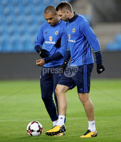 Press Eye - Belfast -  Northern Ireland - 07th October 2017 - Photo by William Cherry/Presseye. Northern Ireland\'s Gareth McAuley and Josh Magennis during Saturdays nights training session at the Ullevaal Stadion, Oslo ahead of Sundays World Cup Qualifier against Norway.   Photo by William Cherry/Presseye
