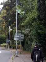 Press Eye © Belfast - Northern Ireland. Photo by Freddie Parkinson / Press Eye ©. Tuesday 10 October 2017. Rsidents of some of the most affluent parts of Northern Ireland have been troubled by the appearance of flags on streets. In the exclusive Malone area of south Belfast, GAA flags appeared at the weekend.. The blue and yellow flags have appeared in the upmarket Malone area of Belfast ahead of local team St Brigid\'s game against Dunloy in the GAA intermediate football final this weekend.