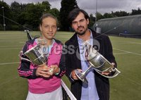 ©Russell Pritchard / Presseye  - 9th June 2012. Tennis : Ulster Senior Open at Belfast Boat Club.. Mens Singles winner Przemek Stec and Ladies Singles Winner Karola Bejenaru . ©Russell Pritchard / Presseye