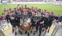 Press Eye - Belfast -  Northern Ireland - 12th March 2019 - . Methodist College captain Johnny O\'Kane with the Danske Bank Medallion Shield after defeating Ballymena Academy in Tuesdays final at the Kingspan Stadium, Belfast.