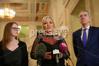 Press Eye - Belfast - Northern Ireland - 13th March 2019. Sinn Fein northern leader Michelle O\'Neill(centre) with her party colleagues Caoimhe Archibald(left) and Mirtn  Muilleoir speak to the media in the Grwt Hall at Parliament Buildings, Stormont, regarding the latest issues with Brexit. . Picture by Jonathan Porter/PressEye
