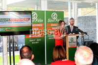 Press Eye - Sinn Feinn Manifesto launch - Galgorm Hotel - Ballymena -  5th April 2019. Photograph by Declan Roughan. Sinn Fin launches party Manifesto for Local Government Elections 2019. (L-R) Liz Kimmins and Ronan McGinley speaking at the conference.