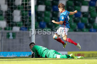 Press Eye - Belfast -  Northern Ireland - 12th August 2017 - Photo by William Cherry/Presseye. Linfield\'s Jordan Stewart has his penalty saved by  Carrick\'s Harry Doherty during Saturdays Danske Bank Premiership game at the National Stadium at Windsor Park, Belfast.