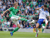 Press Eye Belfast - Northern Ireland 8th September 2018. UEFA Nations League 2019 Final Tournament at the National Stadium at Windsor Park.  Northern Ireland Vs Bosnia and Herzegovina. . Northern Ireland\'s George Savlle with Bosnia and Herzegovina\'s Ervin Zukanovic  . Picture by Jonathan Porter/PressEye.com