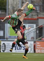 Danske Bank Premiership, Seaview Belfast.. Co Antrim 02/12/17. Crusaders v Glentoran. Mandatory Credit ©INPHO/Stephen Hamilton. Crusaders Gavin Whyte  in action with Glentorans Jonny Addis.