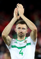 Press Eye - Belfast -  Northern Ireland - 12th November 2017 - Photo by William Cherry/Presseye. Northern Ireland\'s Gareth McAuley is dejected after drawing 0-0 with Switzerland but lost the World Cup Play Off 1-0 over the two games.