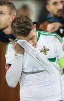 PressEye-Northern Ireland- 12th November  2017-Picture by Brian Little/ PressEye. Dejected  Northern Ireland captain Steven Davis after the final whistle against Switzerland     during Sunday night\'s FIFA  World Cup play-off  second leg match at St Jacob Park, Basel.. Picture by Brian Little/PressEye