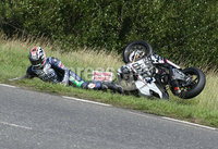PressEye-Northern Ireland- 9th August 2018-Picture by Brian Little/ Double Red. Ulster Grand Prix Practice . David Johnston TYCO BMW Motorrad HP4 Race crashes at Lindsay Hairpin during  Superbike  practice for the Ulster Grand Prix races around the Dundrod 7.4 mile circuit. . Picture by Brian Little/Double Red