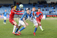 Danske Bank Premiership, Mourneview Park, Lurgan 13/4/2019. Glenavon v Coleraine. Mandatory Credit INPHO/Declan Roughan. Glenavon\'s James Taylor and Aaron Harmon with Coleraine\'s Jamie Glackin and Ben Doherty
