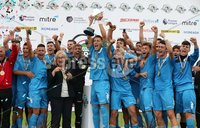 PressEye-Northern Ireland- 27th   July  2018-Picture by Brian Little/PressEye. SuperCupNI. Premier   Section . Serie B Italia  captain Cerretti Cristian lifts the trophy after defeating Co Down 2-0  during the SuperCupNI Premier  Final  at Ballymena Showgrounds. . Picture by Brian Little/PressEye
