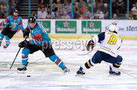 Press Eye - Belfast -  Northern Ireland - 09th August 2017 - Belfast Giants Sebastien Sylvestre with Guilford Flames Calle Ackered during Saturday nights Elite Ice Hockey League game at the SSE Arena, Belfast.  Photo by Presseye