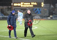 Danske Bank Premiership, Showgrounds, Ballymena 2/11/2018. Ballymena United v Glenavon FC. Ballymena United manager David Jeffrey and Gary Hamilton of Glenavon during an act of Remembrance before the match.. Mandatory Credit @INPHO/Brian Little.