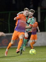 . Danske Bank Premiership,The Oval Belfast 14/11/2017. Glentoran v Glenavon. Mandatory Credit ©INPHO/Stephen Hamilton. Glentorans James Knowles  in action with Glenavons Mark Sykes