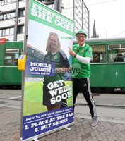 Press Eye - Belfast -  Northern Ireland - 11th November 2017 - Photo by William Cherry/Presseye. Northern Ireland fan Brian White with a pop-up of his daughter Judith who is missing the game in Basel ahead of Sunday nights World Cup Play Off against Switzerland at at St. Jakob-Park, Basel.