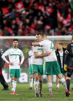 Press Eye - Belfast -  Northern Ireland - 12th November 2017 - Photo by William Cherry/Presseye. Northern Ireland\'s Gareth McAuley and Jonny Evans are dejected after drawing 0-0 with Switzerland but lost the World Cup Play Off 1-0 over the two games.