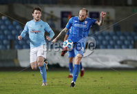 Danske Bank Premiership, Showgrounds, Ballymena.. 16/2/2021. Ballymena United  FC vs Coleraine FC . Ballymena United  Shay McCartan   and   and Coleraine  Gareth McConaghie  during Tuesday night\'s Danske Bank Premiership match at Ballymena Showgrounds.. Mandatory Credit  INPHO/Brian Little