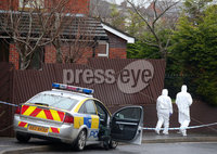 Press Eye - Belfast - Northern Ireland - 8th February 2018. Police and forensic experts pictured at the scene on Creeslough Court in the Lenadoon area of west Belfast where a small explosion took place on Wednesday evening. . Picture by Jonathan Porter/PressEye