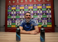 PressEye-Northern Ireland- 14th November 2019-Picture by Brian Little/PressEye. Northern Ireland\'s Michael Smith   during a press conference ahead of Saturday\'s Euro 2020 Qualifier against the Netherlands at the National Football Stadium at Windsor Park.. Picture by Brian Little/PressEye