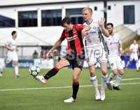11th July 2019. Europa league First round qualifying match between Crusaders and B36 Torshavn at Seaview Belfast.. Crusaders Howard Beverland  in action with Torshavns Andreas Erikson. Mandatory Credit / Stephen Hamilton/Inpho