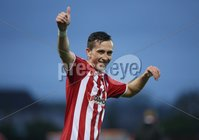 ©/Presseye.com - 19th May 2017.  Press Eye Ltd - Northern Ireland - Airtricity League Premier Division - Derry City V Shamrock Rovers. Derry\'stwo goal hero  Aaron McEneff salutes the Derry fans at the final whistle.. Mandatory Credit Photo Lorcan Doherty / Presseye.com
