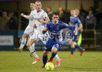 Danske Bank Premiership, Stangmore Park, Dungannon, Co. Tyrone 13/1/2018. Dungannon Swifts vs Coleraine. Dungannon\'s Grant Hutchinson with Stephen Dooley of Coleraine. Mandatory Credit ©INPHO/Matt Mackey