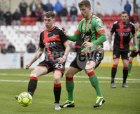 Danske Bank Premiership, Seaview Belfast.. 10/02/2018.  Crusaders v Glentoran. Crusaders Gavin Whyte  in action with Glentorans Daniel Kelly. Mandatory Credit ©INPHO/Stephen Hamilton.