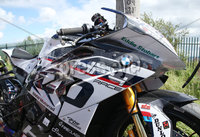 PressEye-Northern Ireland- 9th August 2018-Picture by Brian Little/ Double Red. Ulster Grand Prix Practice . Damage to the Tyco BMW Motorrad HP4 Race bike during Superbike  during practice for the Ulster Grand Prix races around the Dundrod 7.4 mile circuit. . Picture by Brian Little/Double Red