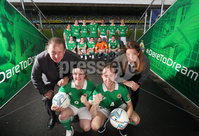 Press Eye - Belfast -  Northern Ireland - 07th November 2018 - Photo by William Cherry/Presseye. Ruth Boyle and Matthew Gallagher from Street Soccer NI team are pictured alongside Gerry Armstrong and the Department for Communities Kathryn Hill at a farewell reception ahead of their week-long trip to Mexico to represent Northern Ireland in the Homeless World Cup street football tournament. The competition brings together more than 500 players from over 50 countries who have faced homelessness and social marginalisation and helps ensure opportunities for the players to positively transform their lives upon return. Street Soccer NI is being funded by the Department for Communities, as part of the Northern Ireland Executives Together: Building a United Community (T:BUC) Strategy.