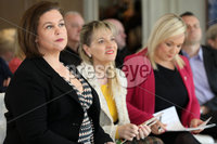 Press Eye - Sinn Feinn Manifesto launch - Galgorm Hotel - Ballymena -  5th April 2019. Photograph by Declan Roughan. Sinn Fin launches party Manifesto for Local Government Elections 2019. (L-R) Mary Lou Mc Donald, Martina Anderson and Michelle O\'Neill.