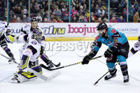 Press Eye - Belfast -  Northern Ireland - 03rd March 2019 - Photo by William Cherry/Presseye. Belfast Giants\' Blair Riley with Manchester Storm\'s Matt McGinn during Sunday afternoons Elite Ice Hockey League game at the SSE Arena, Belfast.