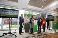 Press Eye - Sinn Feinn Manifesto launch - Galgorm Hotel - Ballymena -  5th April 2019. Photograph by Declan Roughan. Sinn Fin launches party Manifesto for Local Government Elections 2019. (L-R) Ronan McGinley, Martina Anderson, Mary Lou Mc Donald, Conor Murphy and Liz Kimmins.