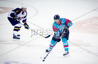 Press Eye - Belfast -  Northern Ireland - 09th August 2017 - Belfast Giants Jonathan Ferland with Guilford Flames Calle Ackered during Saturday nights Elite Ice Hockey League game at the SSE Arena, Belfast.  Photo by Presseye