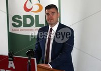 Press Eye © Belfast - Northern Ireland. Photo by Freddie Parkinson / Press Eye ©. Wednesday 17th May 2017. SDLP Leader Colum Eastwood formally launched the party's 2017  . Westminster Election campaign in the Newcastle Centre, 10-14 Central Promenade, Newcastle, Co Down.. Colin McGrath MLA