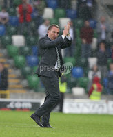 PressEye-Northern Ireland- 14th July  2017-Picture by PressEye. Celtic  manager Brendan Rodgers celebrates after a2-0 victory against Linfield       during  Friday\'s UEFA Champions League Qualifier Round 2 (First Leg) match  at Windsor Park.. Picture by PressEye  .