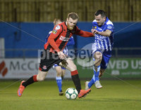 Danske Bank Premiership, The Showgrounds Newry 11/01/2019. Newry vs Crusaders. Newrys Mark Hughes  with Crusaders Ross Clarke. Mandatory Credit INPHO/Stephen Hamilton.